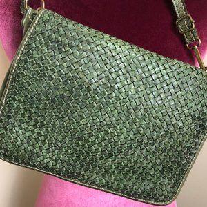 Olive Genuine Leather Crossbody Bag